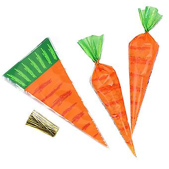 100pcs Easter Carrot Candy Bags Easter Gift Bags Sweet Candy Kids Party Favour