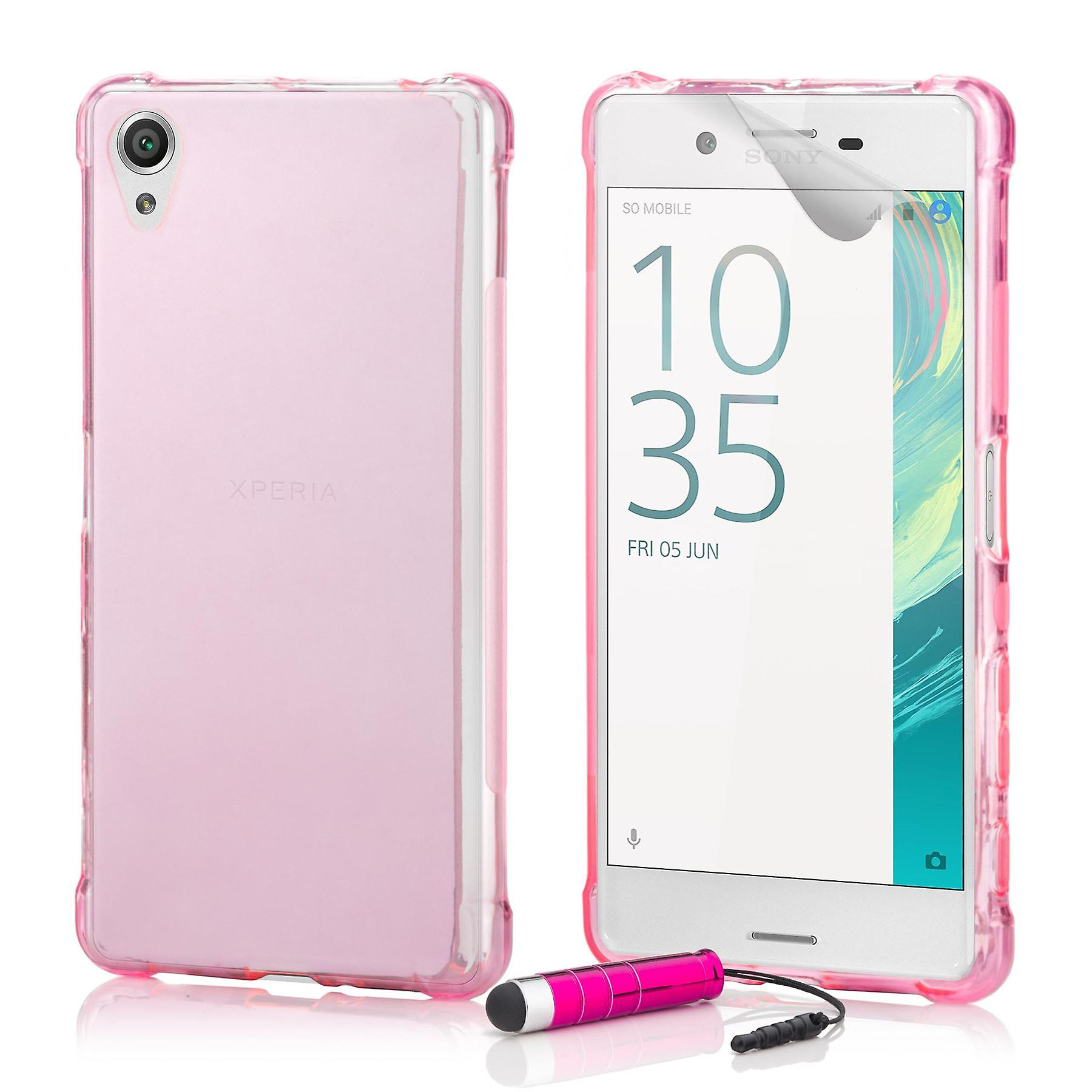 Tough Gel case + stylus for Sony Xperia X - Hot Pink