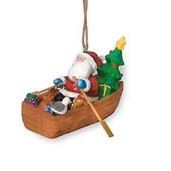 Cape Shore Santa Delivering Gifts in Dory Boat Holiday Christmas Ornament Resin