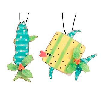 Teal Baracuda och gula Whale metall fisk Holiday ornament
