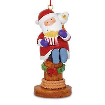 Santa and Seagull Eating Boardwalk Fries Christmas Holiday Ornament Resin