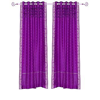 Viola rosso Hand Crafted gommino superiore Sari pura tenda a pannello - pezzo