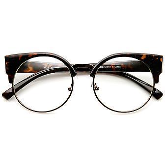 レディース ハーフ フレーム Semi-Rimless クリア レンズ猫目丸眼鏡