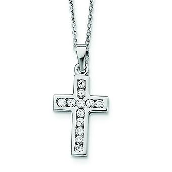 925 Sterling Silver Polished Channel set CZ Cubic Zirconia Simulated Diamond Religious Faith Cross 16 Box Chain Necklace