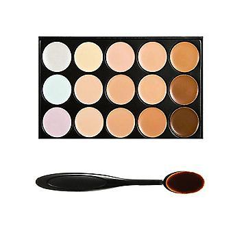 15 Shades Colour Concealer Makeup Palette Kit Make Up Set + Oval Make up Brush