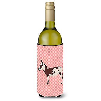 American Spotted Donkey Pink Check Wine Bottle Beverge Insulator Hugger
