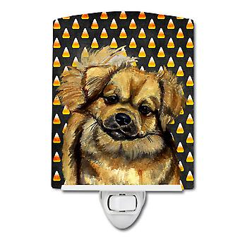 Tibetan Spaniel Candy Corn Halloween Portrait Ceramic Night Light
