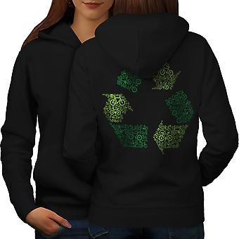 Verde Eco arte divertente donne BlackHoodie Back | Wellcoda