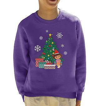 Dora The Explorer Around The Christmas Tree Kid's Sweatshirt