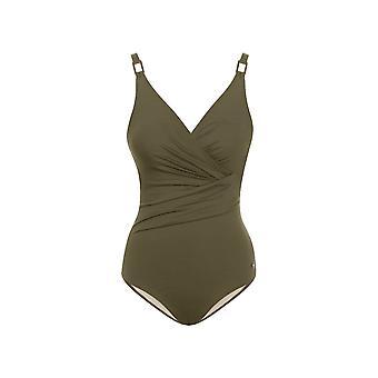Seaspray SY006403A vrouwen olijf groen effen kleur kostuum een stuk zwembroek