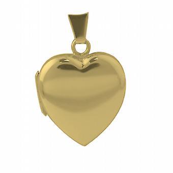 Or 18 carats 21x19mm plain cœur en forme de médaillon