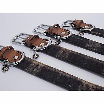 Rosewood Luxury Leather Tweed Check Dog Collar