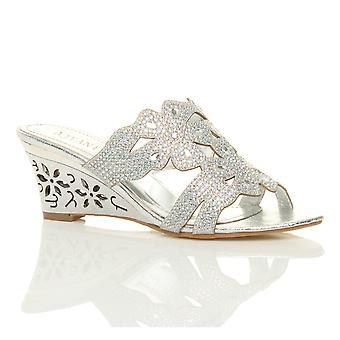 Diamante noite nupcial do baile mulas sapatos sandálias da Cunha Ajvani womens meados de salto alto