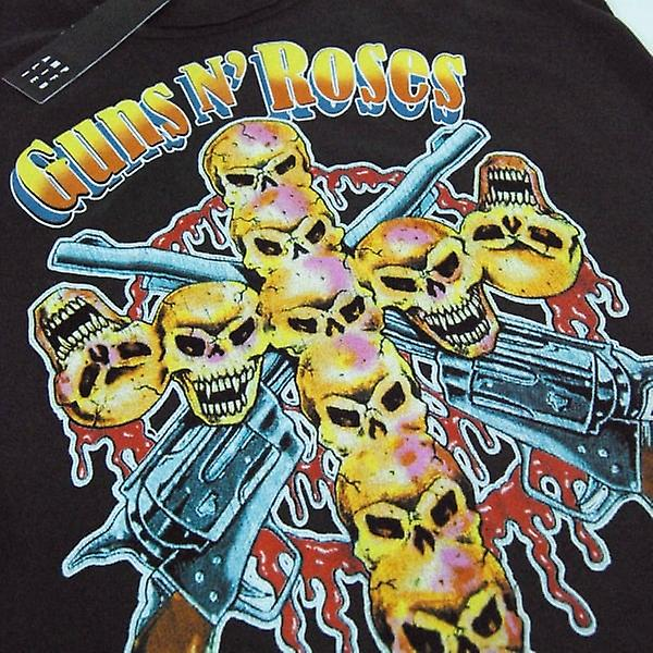 Amplified Womens Guns And Roses Skull Cross T Shirt Charcoal