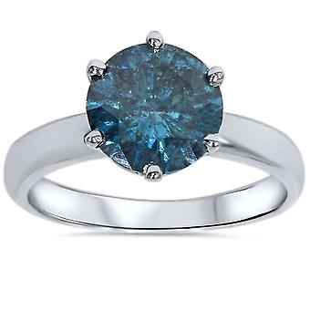 2CT Blue Diamond Solitaire Engagement Ring 14K or blanc