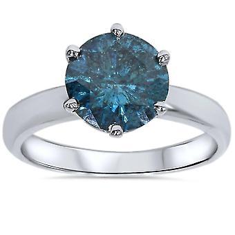 2ct Голубой алмаз пасьянс обручальное кольцо 14K Белое золото