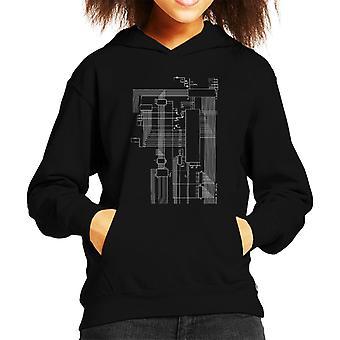 Dragon 32 Computer Schematic Kid's Hooded Sweatshirt