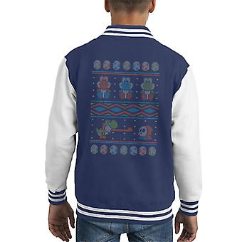 Super Mario Yoshi Knitted Jumper Pattern Kid's Varsity Jacket