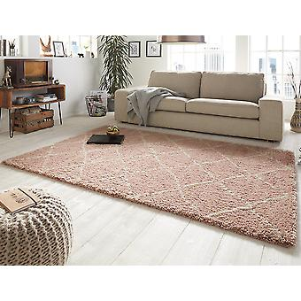 Design cut pile carpet deep pile hash pink cream