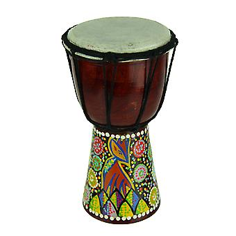 Aboriginal Dot Painted Giraffe Djembe Drum 8 Inches Tall 4.5 Inch Diameter