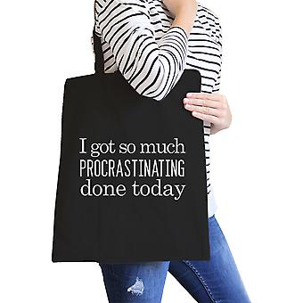 Procrastinating Done Today Black Canvas Tote Bag Funny School Gifts