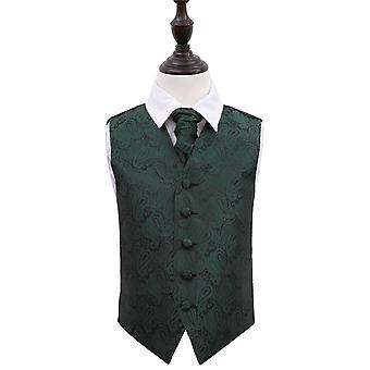 Smaragd grønn Paisley bryllup vest & Cravat sett for gutter
