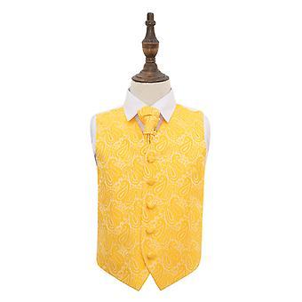 Panciotto di nozze oro Paisley & Cravat Set per i ragazzi