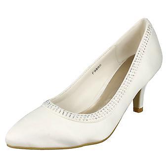 Las señoras Anne Michelle Bridal medio talón zapatos con lentejuelas F9805