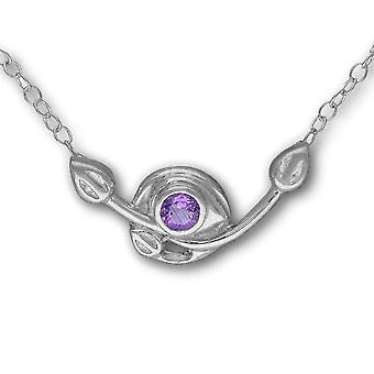 Sterling zilveren traditionele Schotse Charles Rennie Mackintosh Necklet - Amethyst kleur Stone