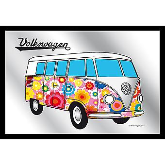 Mirror VW Bulli hippie VW license printed wall mirrors, multi colored, black, plastic framing wood.