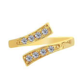 14K gul guld Crossover med CZ sten af Pass stil justerbar tå Ring