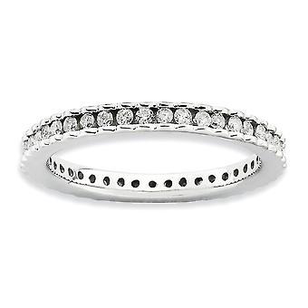 2.25mm 925 Sterling Silver Channel set Rhodium verguld Stackable Expressions Gepolijste Diamond Ring Sieraden Geschenken voor Wome