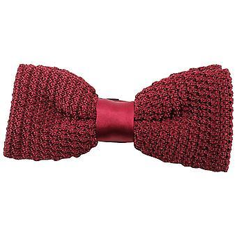 Knightsbridge Neckwear Plain Knitted Bow Tie - Burgundy