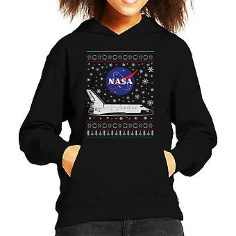 NASA Logo And Shuttle Christmas Knit Pattern Kid's Hooded Sweatshirt
