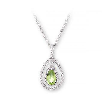 Star Wedding Rings Sterling Silver Necklace With Peridot Gem Stone Pendant And Diamonds