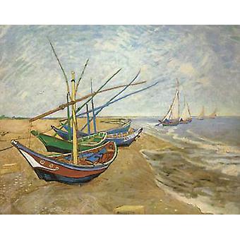 Fischerboote am Strand von Saintes-Maries, Vincent Van Gogh