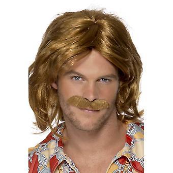 Kort brunt vågigt peruk, 1970's Super Trouper peruk och mustasch. Mens