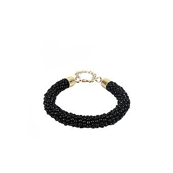 Lovemystyle Black Beaded Bracelet With Gold Clasp
