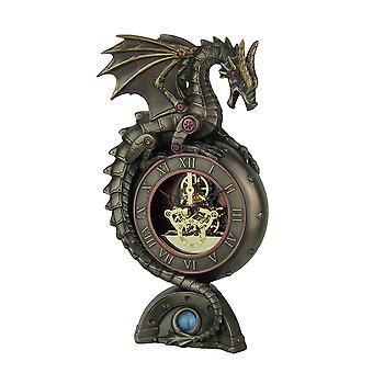 Steampunk-Drachen Bronze-Finish-Tischuhr mit beweglichen Uhrwerk