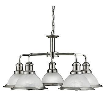 Bistro Satin Silver pięć światła wisiorek okrągły z kwas Glass - Searchlight 1595-5SS
