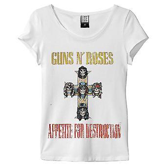 Amplificado Guns N Roses apetito para la blanca camiseta destrucción de la mujer