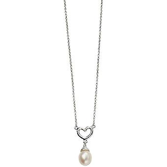Beginnings Heart and Pearl Drop Necklace - Silver