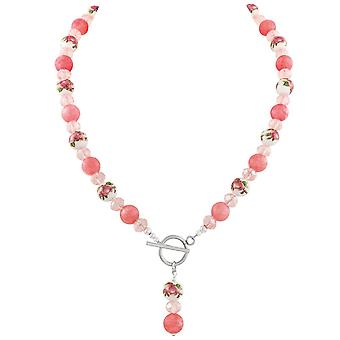 Eternal Collection Captivation Coral Pink Floral Beaded Statement Necklace