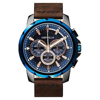 ORPHELIA Mens Chronograph Watch vijf zintuigen bruin leder OR81502