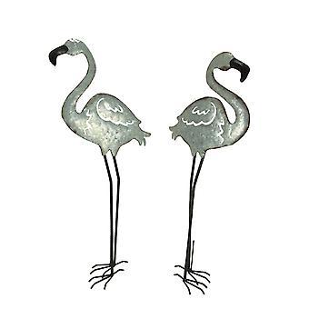 Galvanized Metal Art Standing Flamingo Outdoor Statues Set of 2