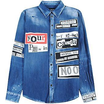 Dsquared2 chemise en denim imprimé graphique bleu