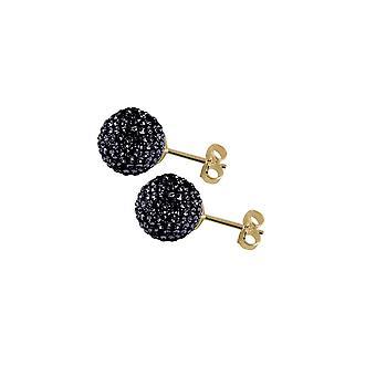 Éternelle Collection Shamballa 10mm couleur or à rotule Jet paillettes noires boucles d'oreilles