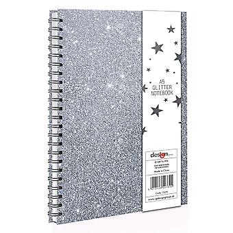A5 Silver Glitter Sparkle Spiral Bound Twin Wire Hard Cover Notebook