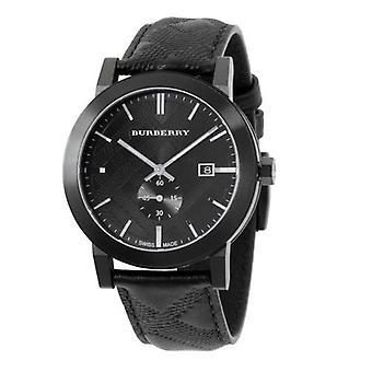 Burberry Bu9906 svart läderrem kvarts rörelse mäns Watch