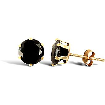 Jewelco London Ladies 9ct Yellow Gold Black Round Brilliant Cubic Zirconia Solitaire Claw Set Stud Earrings, 6mm